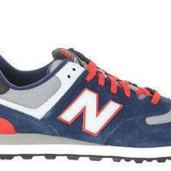 DCCKGQ8 new balance mens 574 sneakers dk blue red light grey ml574cpm