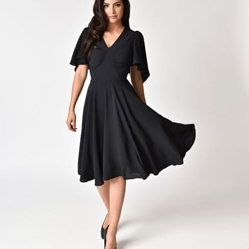 Hell Bunny 1940s Style Black Butterfly Sleeve Carolina Swing Dress