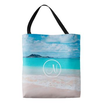 Turquoise beach photo custom monogram tote bag