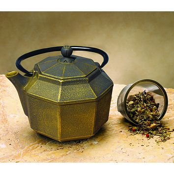 """Pagoda"" Tetsubin Teapot in Black and Gold by Old Dutch International"