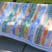 Handmade Quilt with Kaffe Fassett Prints in Pink Green Blue Yellow Teal Purple, Quilted Sofa Throw, Bed Coverlet, Quilted Blanket,