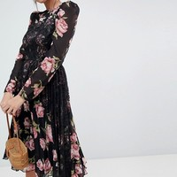 ASOS Floral Insert Midi Dress with Long Sleeves at asos.com
