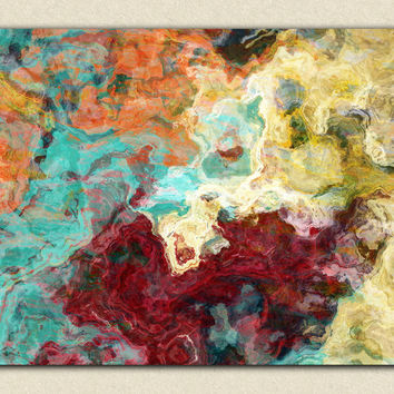"Abstract expressionism canvas print, 30x40 to 40x54 giclee with gallery wrap in fall colors, ""Essential Persimmon"""