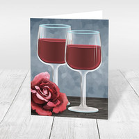 Red Wine Note Cards - Wine Glasses Red Rose Floral over Blue - Winery or Vineyard Thank You Cards, Vineyard Cards - Printed Wine Cards