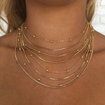 Amber Layered Gold Choker Necklace