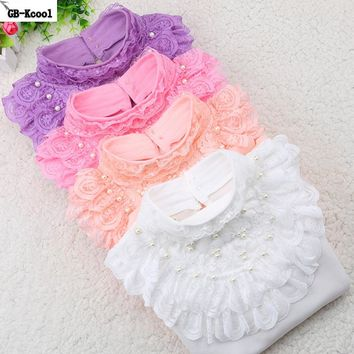Autumn Winter 2017 Kids Clothes Children Turtleneck Shirt Fashion White Long-sleeved Funny t-shirt Student Girls Lace Tops