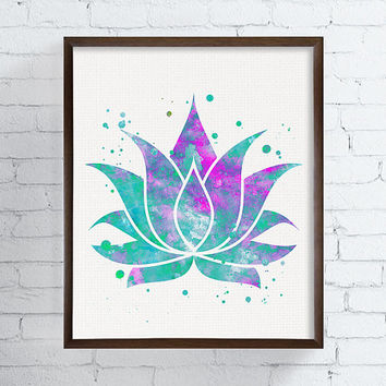 Watercolor Lotus, Lotus Flower, Lotus Art, Lotus Print, Lotus Wall Decor, Lotus Painting, Yoga Art Print, Buddha, Buddhist, Zen, New Age