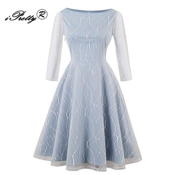 iPretty  Women Lace Perspective Vintage Dresses O Neck Long Sleeve Mesh Stitching Elegant a line Party Dresss Swing Tunic Robe