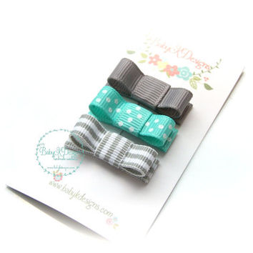 Baby Bow Clips | Infant Snap Clip | Girls Petite Baby Bow Aqua n Grey/Gray Newborn No Slip Alligator Barrettes / Tuxedo Bow More Colors
