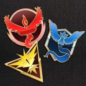 Team Mystic Valor Instinct Pins Set for Backpacks Pokemon Go Leadership Lapel Clothes Pins