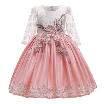 Kid Girls Elegant Wedding Pearl Petals Girl Dress Princess Party Pageant Long Sleeve Lace Tulle for 3 4 5 6 7 8 9 10 Years