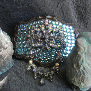 Rhinestone Belt Buckle Blue Turquoise and Aurora Borealis Silver