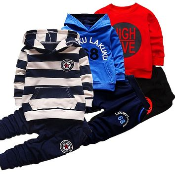 Hot sell autumn Fashion Girl Boys Clothing Sets Long Sleeve Striped Hoodies Unisex Suits 2pcs Children Clothes Hooded For Kids