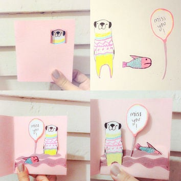 Miss you card, pug card, paper miss you card