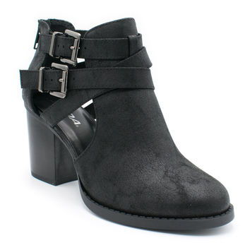 Women's Ankle Bootie With Low Heel And Cut-Out Side Design Black Ts 10 B(M) US '