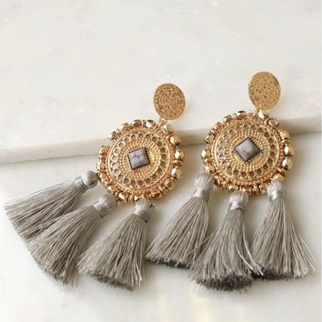 Aztec Detailed Tassel Earrings Grey