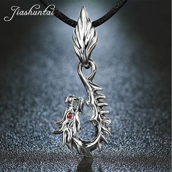 JIASHUNTAI Retro 925 Silver Sterling Pendant Necklace Dragon Red Eye Silver Jewelry For Cool Men