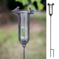 Set of 2 Two Birds Garden Stake Rain Gauge