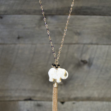 Elephant Tassel Long Necklace