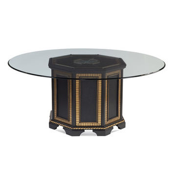 Bassett Mirror Villa Granada 70 Inch Round Glass Top Dining Table in Black Gold & Crystal