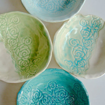 Small bowl set, lace bowls, appetizer dish, tapas dish, coaster, aqua and turquoise
