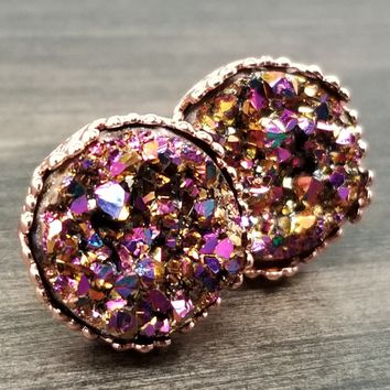 Multicolor faux druzy in Crown stud earrings (you pick setting tone)