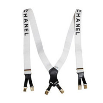 CHANEL SUSPENDERS WITH LOGOS WHITE