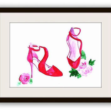 Christian Louboutin, Red shoes, heels, Watercolor painting, print, fashion, beauty, wall decal, poster decor, decals art, chanel, girl paris