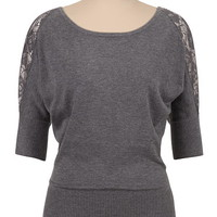 Lace Shoulder Dolman Top