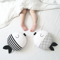 Black and White Striped Polka Dots Pillow Baby Toys for Kids Stuffed Throw Pillow Cushion