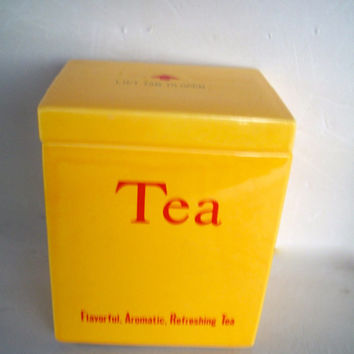 Vintage Tea Canister Cookie Jar  Made In 1979 Betty St. John For Shafford Measures 6 And 1/8   X 5 Inches  X 4 Inches