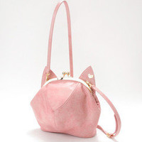 Cat head shape Lolita Pink Cross Body Handbag Satchel Messenger Box Bag