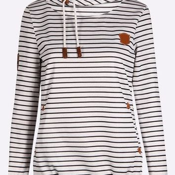 Stripe Pattern Hoodie with Two Front Pockets