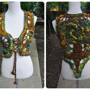 Roots Run Deep Vest // A Handmade Ooak International Artist Collaboration Piece with Innerspiral // Hand-dyed Homespun Art Yarn Tree Vest