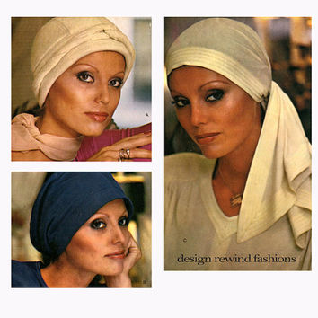 1970s HAT PATTERN HEADWRAP Chemo Hat Headscarf Pattern Jean Muir Couturier Vogue 1148 UNCuT Vintage Accessories Womens Sewing Patterns
