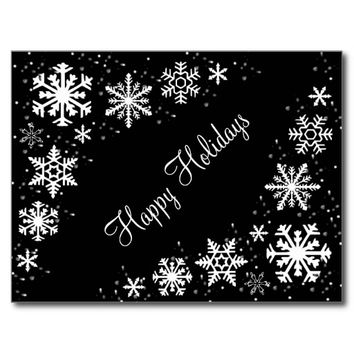 Snowflakes Black and White Happy Holidays Postcard