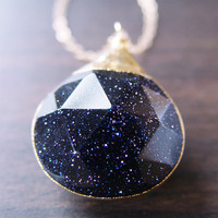 Midnight Blue Sunstone Gold Necklace by friedasophie on Etsy
