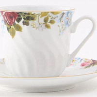 Philomena Bulk Discount Teacups Set of 6 Include 6 Inexpensive Tea Cups and 6 Saucers