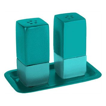 Salt & Pepper Shakers + Tray - Metal  -Turquoise