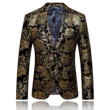 Gold Blazer For Men Stage Costumes For Singers Mens Embroidered Blazer Luxury Brand Mens Blazer Jacket Prom Wedding Dress