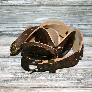 XS Small Womens Belts Concho Belt Western Belt Cowgirl Belt Brown Belt Antiqued Brass Conchos Vegan Faux Leather Steers and Stars Buckle