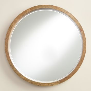 Natural Wood Round Evan Mirror