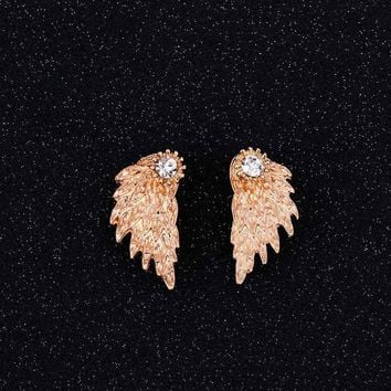 Women's Angel Wings Stud Earrings Rhinestone Inlaid Alloy Ear Jewelry Party Earring Gothic Feather Brincos Gifts