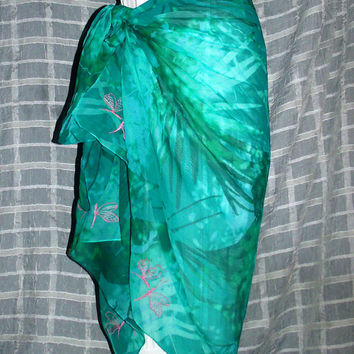 Couture OOAK Teal & Seafoam Sarong with Pink Butterfly Embroidered Embellishments Across the Bottom