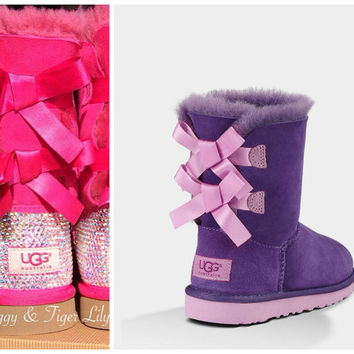 Purple and Pink Ugg Bailey Bow Boots with Swarovski Crystal Embellishment - Bling Purple Reign/Lipgloss Bailey Bow Uggs