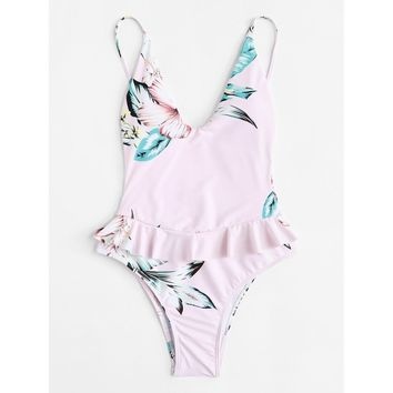 Open Back Ruffle Floral Swimsuit