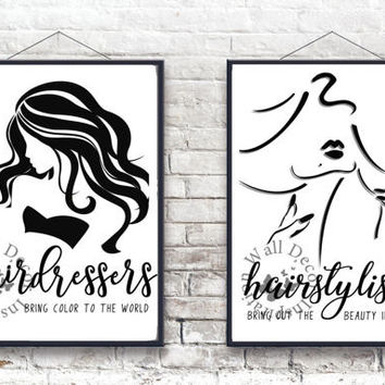 Hairdresser   Hairstylist   Beauty Salon   Silhouette Woman   Inspiration Poster   Art Print   Printable Quote   Typography
