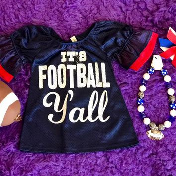 Game Day 2017 Fall It's Football Y'all Mesh Bell Sleeve Jersey Navy/Red