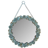 Blue Round Metal Mirror with Flowers & Chain | Shop Hobby Lobby