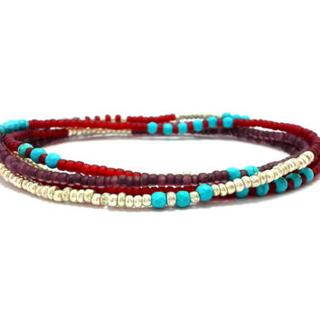 Multi strand seed bead bracelet, stretch wrap beaded bracelet, seed bead jewelry, bohemian, stackable necklace, anklet, turquoise red silver